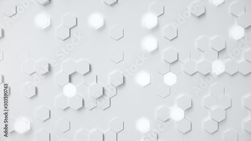 White geometric hexagonal abstract background. Surface polygon pattern with glowing hexagons, hexagonal honeycomb. Abstract white self-luminous hexagons. Futuristic abstract background 3D Illustration - 303590763