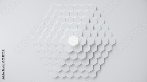 White geometric hexagonal abstract background. Surface polygon pattern with glowing hexagons, hexagonal honeycomb. Abstract white self-luminous hexagons. Futuristic abstract background 3D Illustration - 303591124