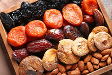 Different Dried Fruits And Nuts In Box