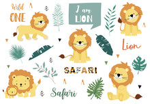 Cute Animal Object Collection With Lion And Leaves.Vector Illustration For Icon,logo,sticker,printable.Include Wording Wild One