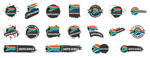 Vector Set Of Flags Of South Africa On A White Background