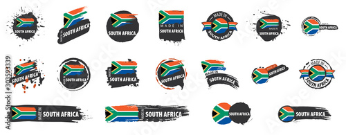 Obraz na plátně Vector set of flags of south africa on a white background