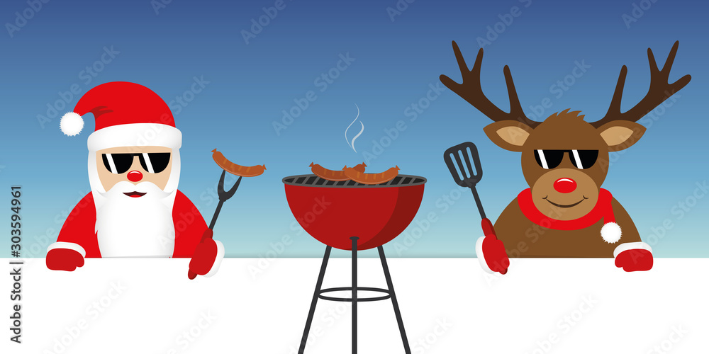 Fototapety, obrazy: cute santa claus and reindeer with sunglasses at christmas bbq vector illustration EPS10