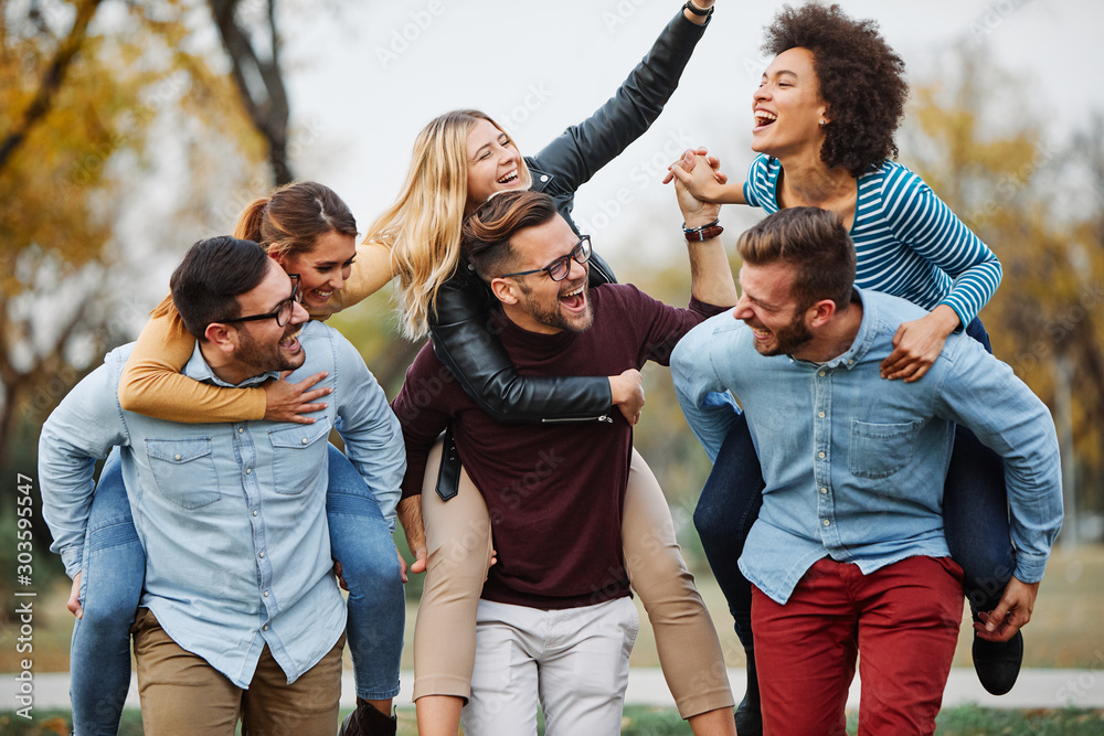 Fototapeta young people having fun happy group friendship student lifestyle