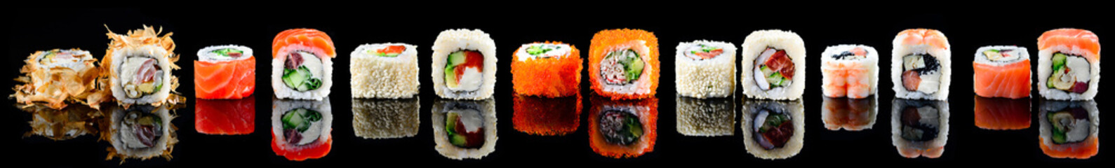 Fototapeta Do kuchni large set of sushi maki isolated
