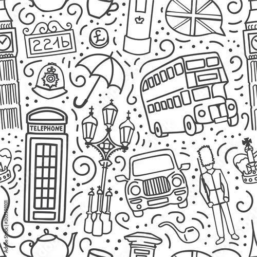 wektor-wzor-z-symbolami-londyn-wielka-brytania-recznie-rysowane-doodle-kontur-na-bialym-tle-niekonczace-sie-tlo-do-druku-podrozy-i-turystyki-tapety-projektowanie-tekstyliow