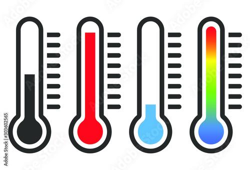 Slika na platnu Cartoon flat style Heat thermometer icon shape