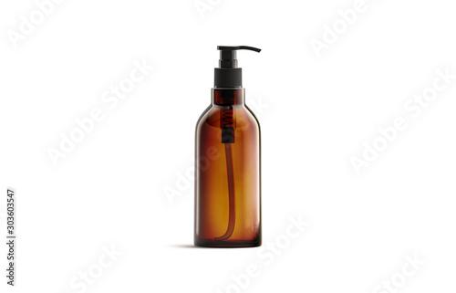 Blank amber glass pump bottle for oil mockup isolated Wallpaper Mural