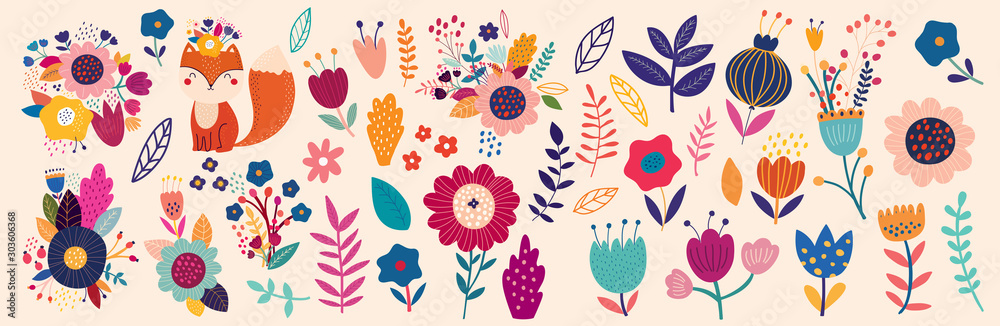 Fototapety, obrazy: Vector collection with flowers and leaves. Spring art print with botanical elements