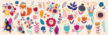 Vector Collection With Flowers And Leaves. Spring Art Print With Botanical Elements