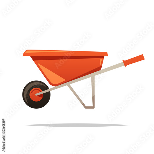Fotomural Wheelbarrow vector isolated illustration