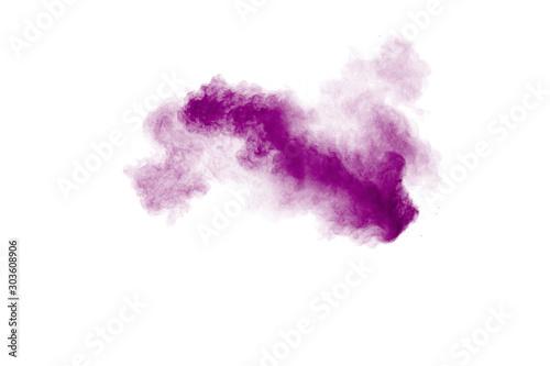 Pinturas sobre lienzo  Purple color powder explosion cloud  on white background
