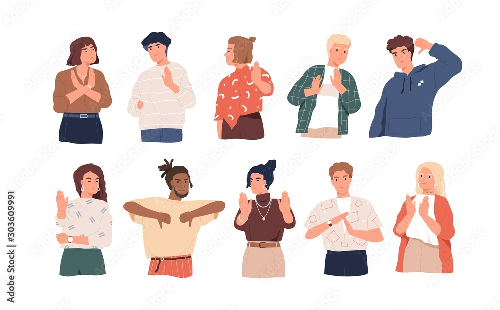 Fototapeta Negative gestures flat vector illustrations set. Finger language, non verbal communication. People disagree and rejection signs isolated pack on white background. Sign language, emotions expression.