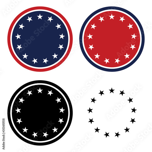 Fotomural  Patriotic 13 Stars Circle Set Isolated Vector Illustration