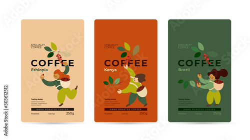 Specialty coffee packaging design concept Fototapeta