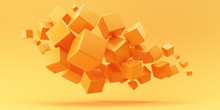 Flying Orange Cubes On A Yello...