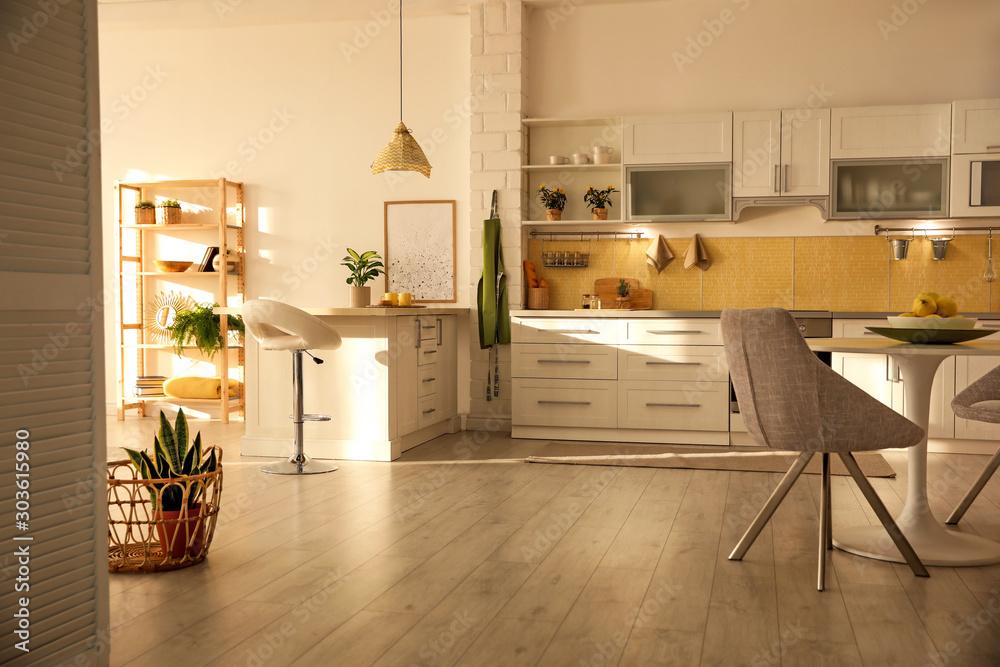 Fototapety, obrazy: Modern kitchen interior with stylish white furniture