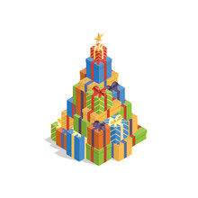 Pile Of Colorful Flat Gift Boxes In Shape Of Christmas Tree In Isometric View