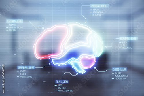 Fotografía  Double exposure of brain drawing on conference room background