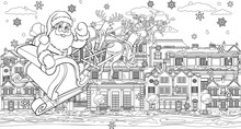 Christmas Street Scene With Santa Claus In Christmas Sleigh With Reindeer Flying Over Victorian Style Houses, Shops And Other Buildings In The Snow. In Outline Like A Coloring Book Page Illustration