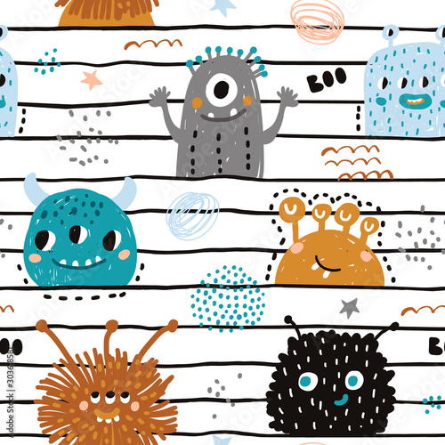 Fotomural Seamless pattern with cute monsters
