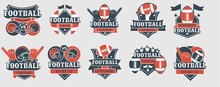 Football Logos And Prints Template Collection Vector Illustration. Set Of Emblems Created With Sport Inventory Put In Different Positions And Shapes Flat Style Design. Sportsman Fan Concept