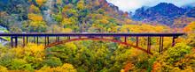 Autumn At Kashiohashi Bridge Fukushima Japan