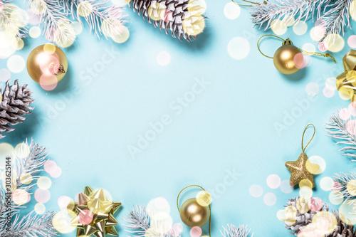 Fototapeta Christmas flat lay background on blue. obraz na płótnie