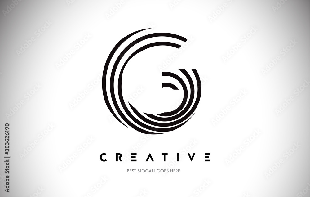 Fototapeta G Lines Warp Logo Design. Letter Icon Made with Circular Lines.