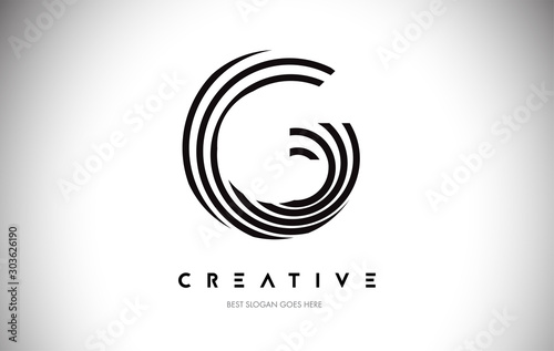 Fotografía  G Lines Warp Logo Design. Letter Icon Made with Circular Lines.