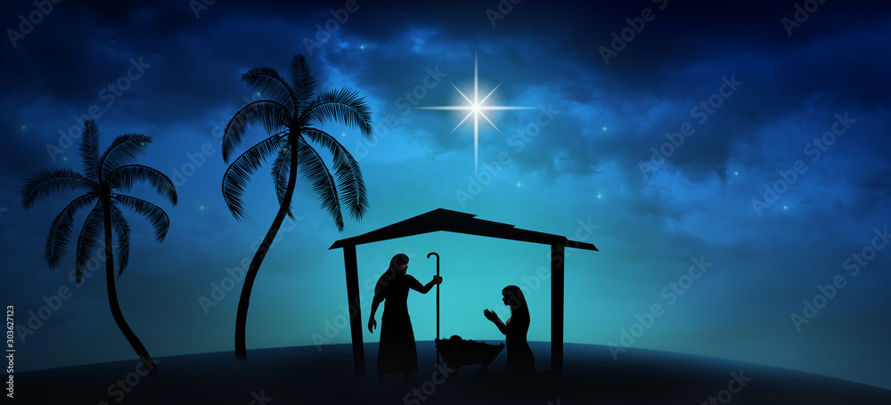 Fototapety, obrazy: Christmas time. Manger with baby Jesus, Mary, Joseph and star of Bethlehem. Copy space.