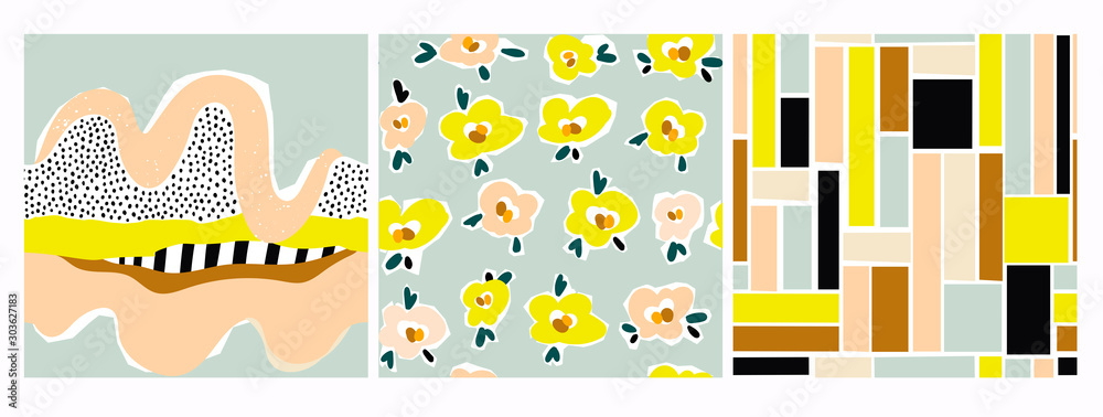 Hand drawn various shapes, flowers, lines, squares and doodle objects. Set of three abstract contemporary modern trendy vector seamless patterns. Perfect for textile prints. Every pattern is isolated