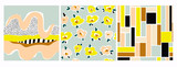 Ręcznie rysowane różne kształty, kwiaty, linie, kwadraty i obiekty doodle. Zestaw trzech abstrakcyjnych współczesnych modnych wektorów bez szwu wzorów. Idealny do nadruków na tekstyliach. Każdy wzór jest izolowany