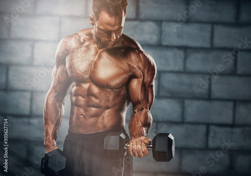 Bodybuilder Execising With Weights Wallpaper Mural