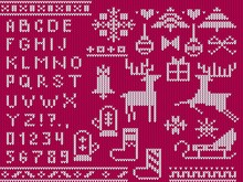 Knitted Christmas Alphabet And Decorative Xmas Symbols Vector Illustration. Template With Cute Ugly Sweater Made In Red And White Tones Showing Christmas Mood Flat Style Design. Happy Holidays Concept