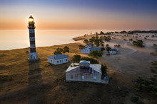 Lighthouse And Hause On The Small Island In The Baltic Sea. Architecture On The Osmussaar, Estonia, Europe.
