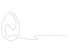 Easter Egg Line Drawing On White Background Vector Illustration