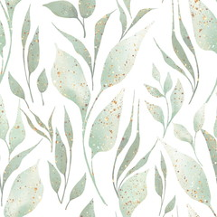 FototapetaGreen leaves and branches seamless pattern on white. Watercolor illustration