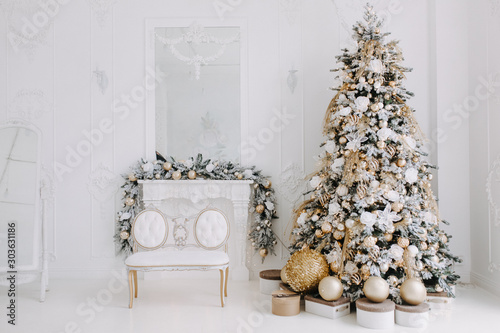 Christmas Pine Tree Decorated Toys and Gift Boxes