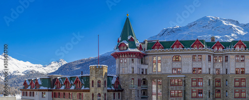 romantic castle in the mountain landscape with snow in the European Alps