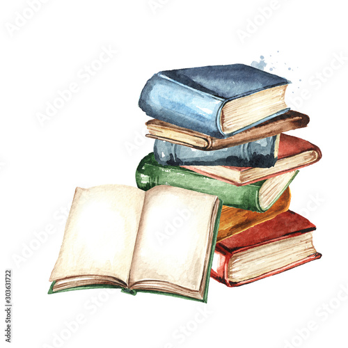 Obraz Old books Watercolor hand drawn illustration, isolated on white background - fototapety do salonu