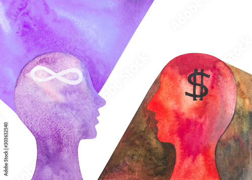 Fotografie, Obraz  Dipinto acquerello un credente e un materialista