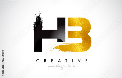 HB Letter Design with Brush Stroke and Modern 3D Look.