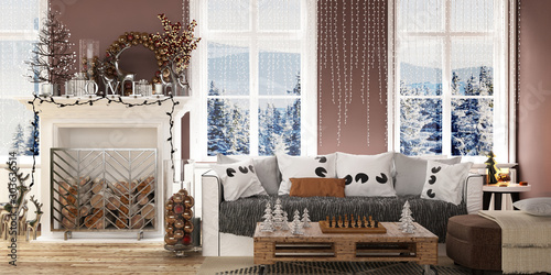 Photographie  New year tree in scandinavian style interior with christmas decoration