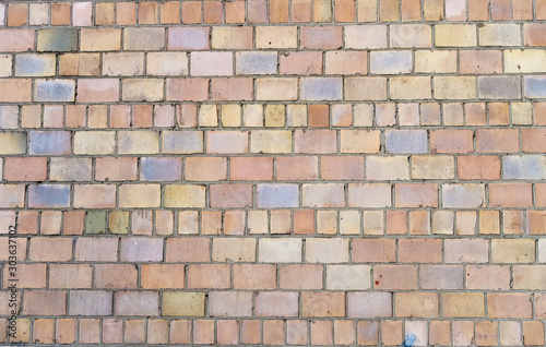 Texture of old long brick, seamless patern of clinker brick, multicolored old Fototapet