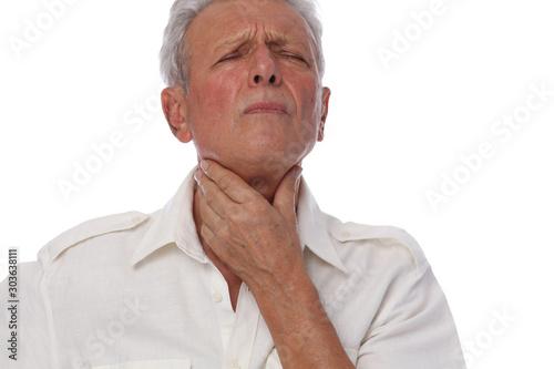 Fotomural Throat gland , Sick senior man with throat pain, Flu, influenza