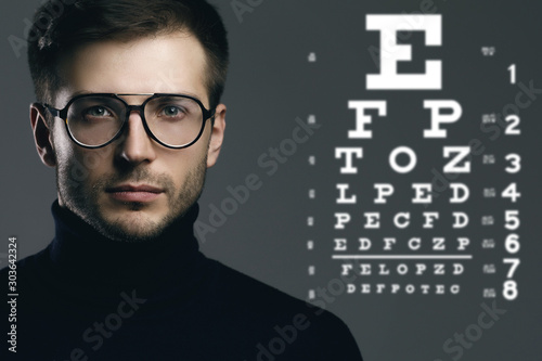 Cuadros en Lienzo Man wearing eyeglasses and eye chart