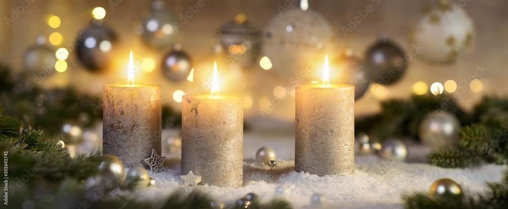 Fototapety, obrazy: Creative Advent decoration with three burning candles (part of a set)