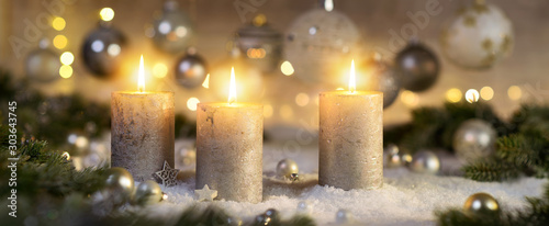 Obraz Creative Advent decoration with three burning candles (part of a set) - fototapety do salonu