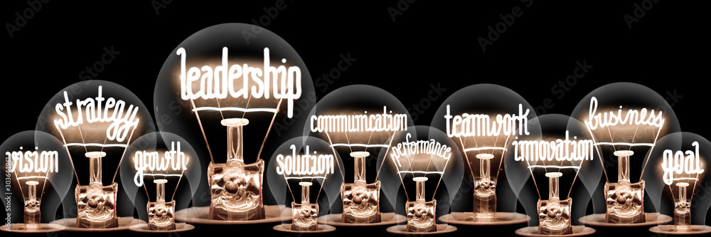 Fototapeta Light Bulbs with Leadership Concept